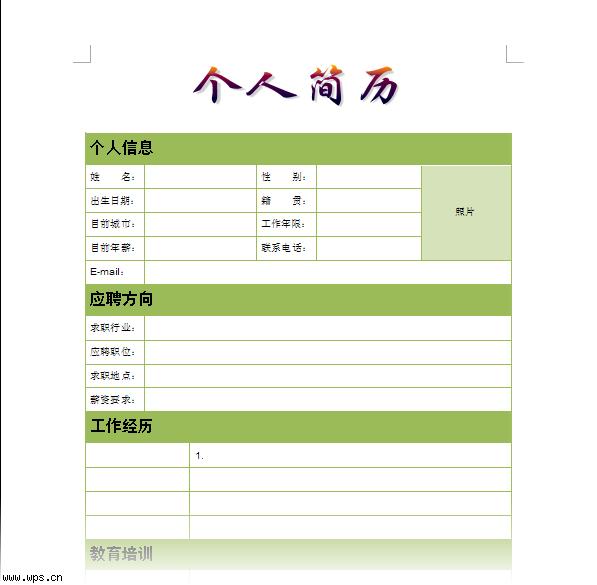 个人简历_跳槽版模板免费下载_5845- wps在线模板图片