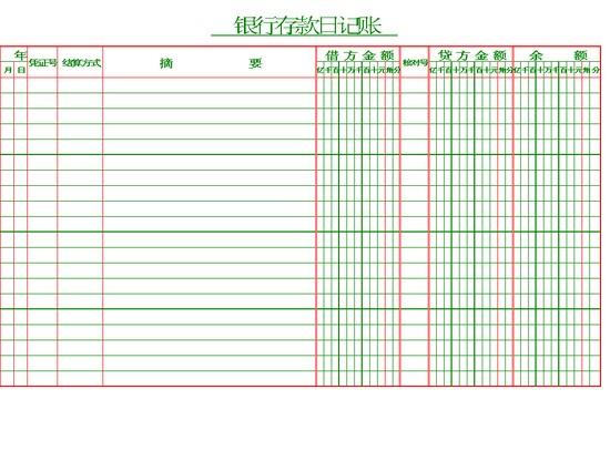 银行存款日记账模板免费下载