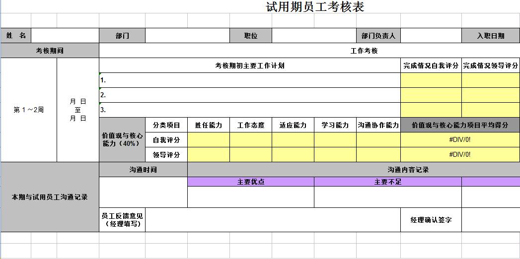 试用期员工考核表模板免费下载