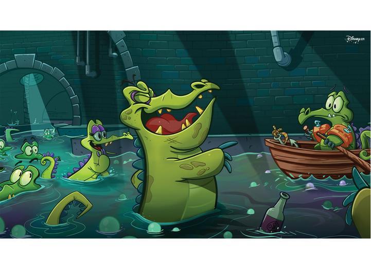 鳄鱼爱洗澡可爱ppt背景模板免费下载