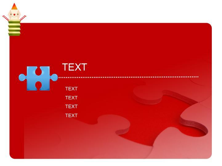 红色卡通拼图类模板