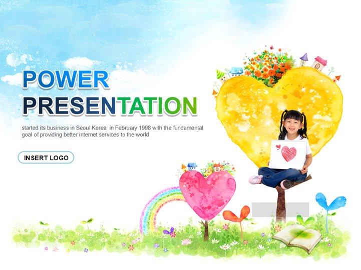 可爱儿童绘画展示模板模板免费下载