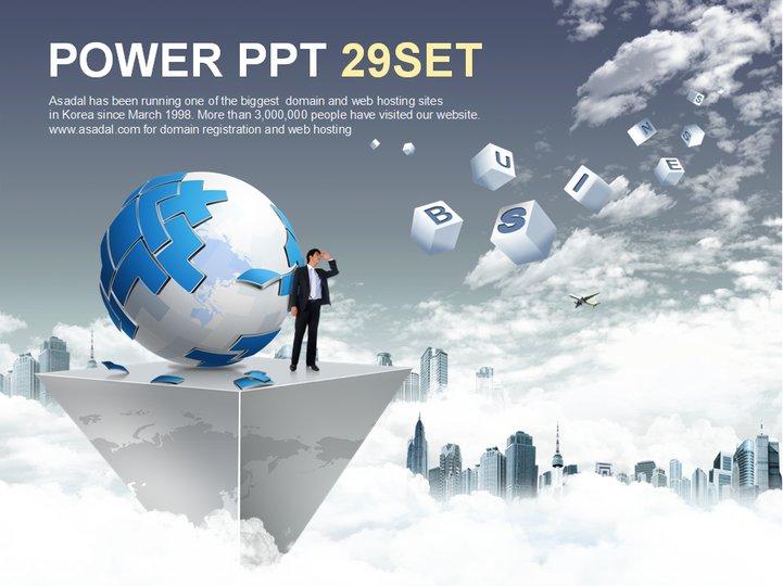 灰色商务地球展示模板 支持格式:ppt wpp 文件大小: