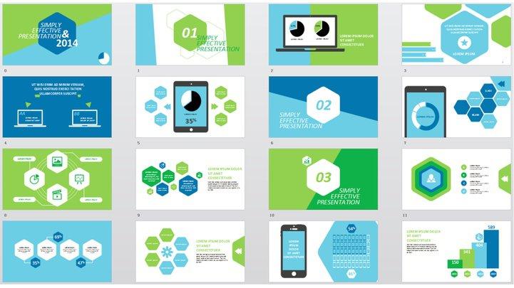 冷色系六边形创意商务模板模板免费下载