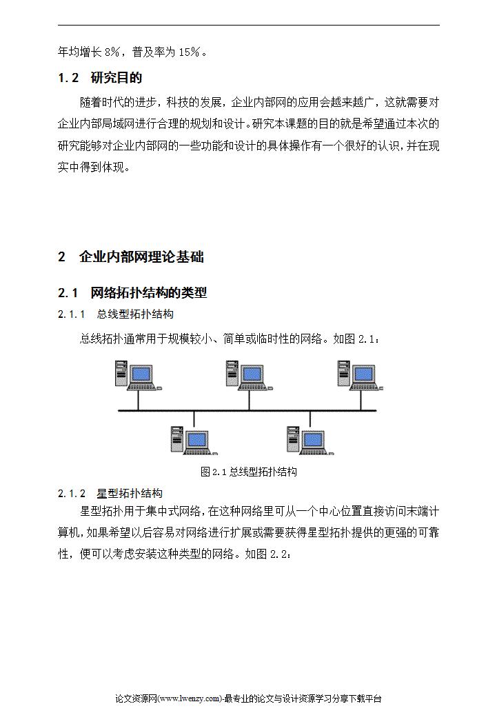 企业内部网络设计 计算机毕业论文模板免费下载