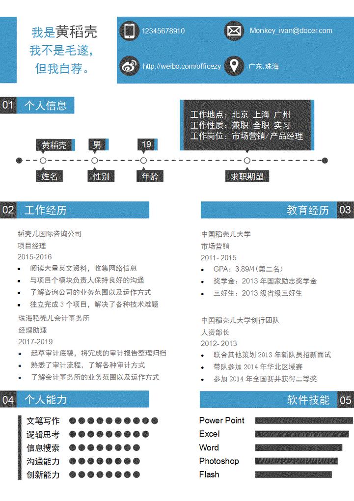 超赞可视化个人简历模板模板免费下载_507235- wps图片