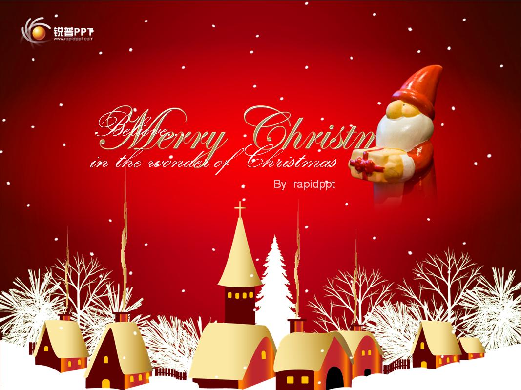 圣诞欢快音乐ppt模板1067