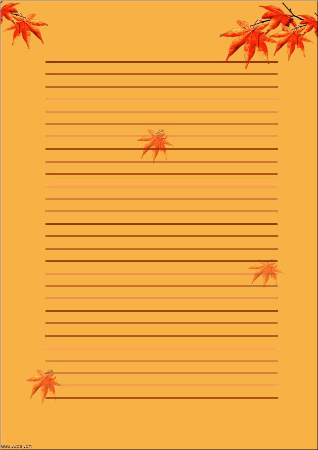 枫叶信纸模板免费下载_7546- wps在线模板图片
