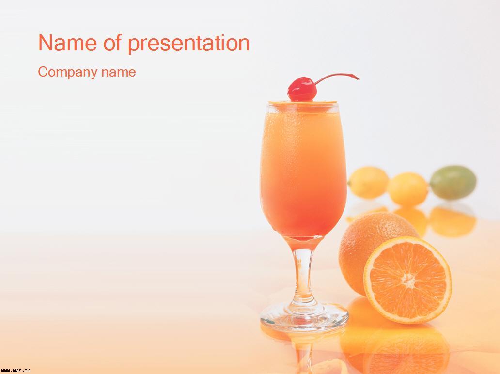 橙汁-水果食物ppt模板模板免费下载