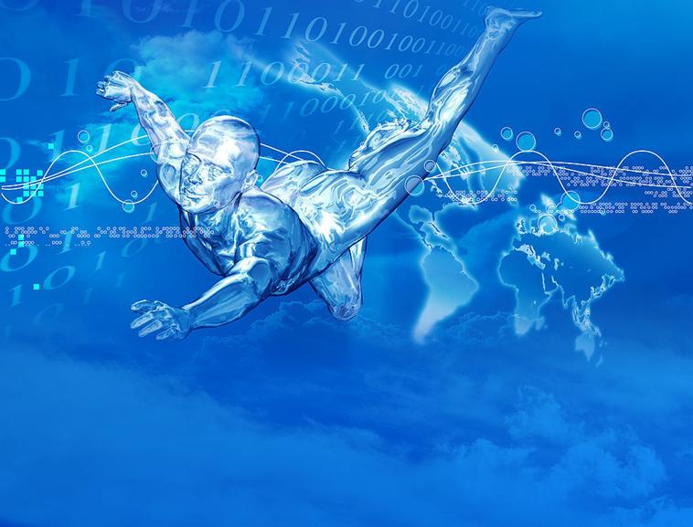 蓝色水韵科技ppt模板模板免费下载