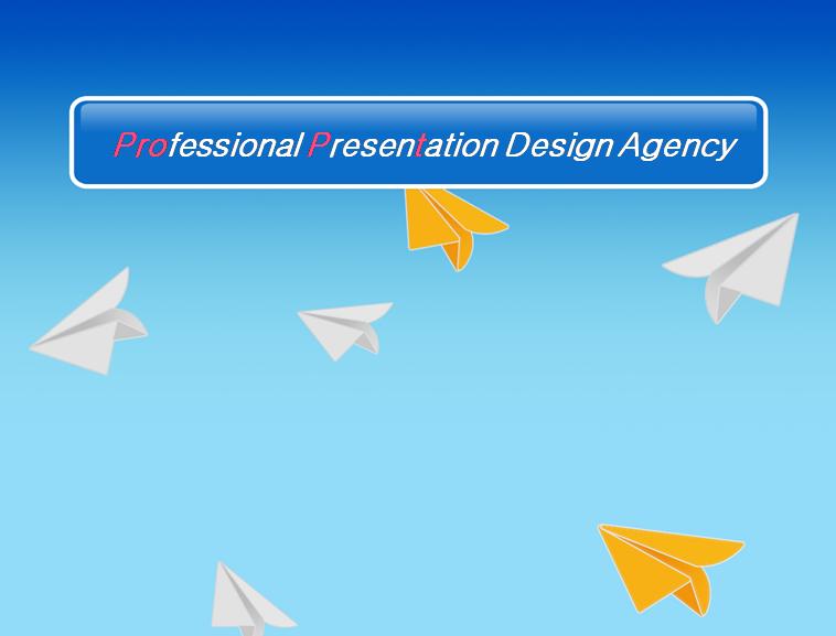 蓝色背景的纸飞机ppt模板模板免费下载