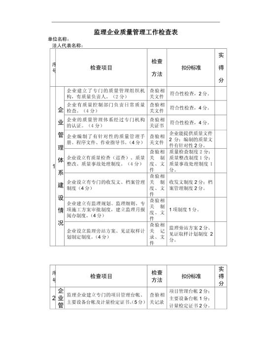 监理企业质量管理工作检查表图片