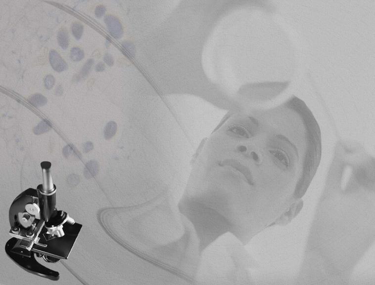 显微镜美女背景医学行业ppt模板模板免费下载