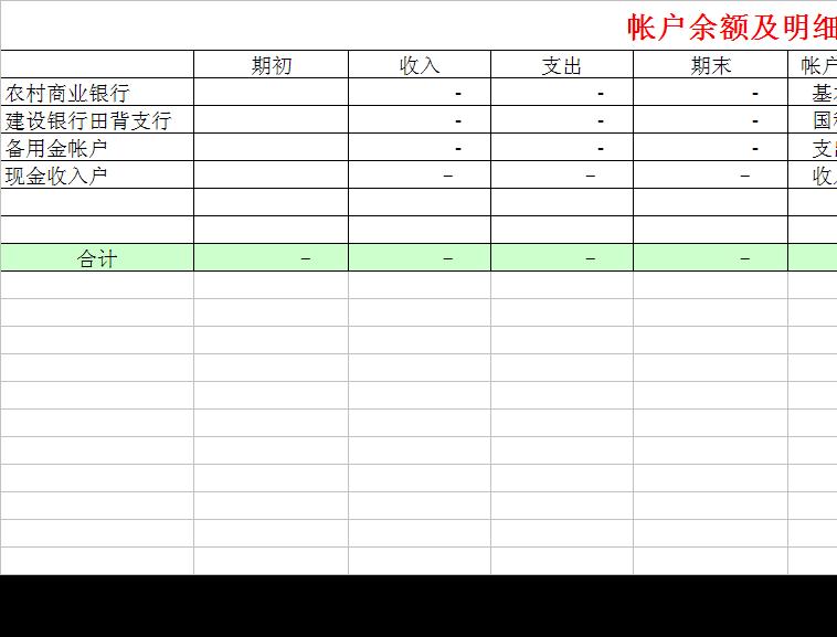 现金日记账模板模板免费下载