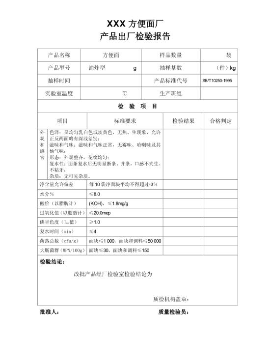 方便面检验报告模板免费下载