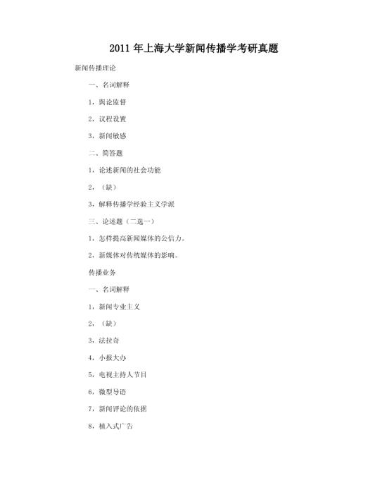 2011年上海大学新闻传播学考研真题模板免费下载