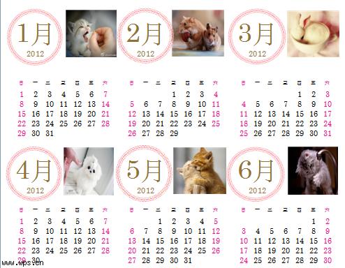可爱猫咪2012年日历模板免费下载