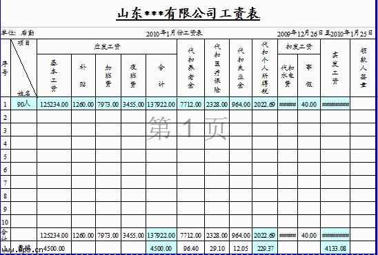 工资表模版(个税自动计算a4打印)模板免费下载