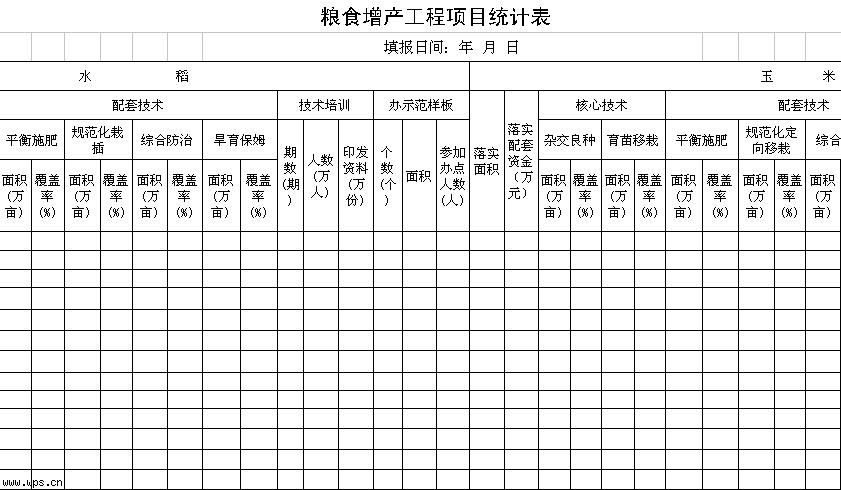 粮食增产工程项目统计表