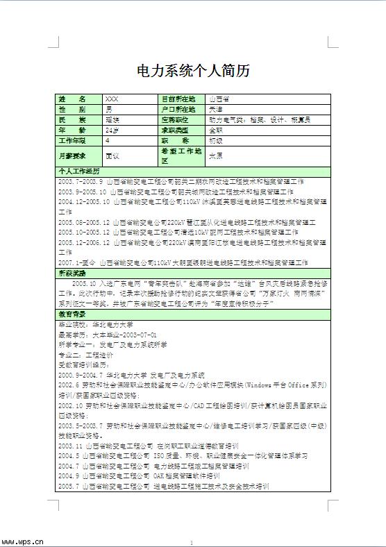 电力系统个人简历(经验型)模板免费下载_17419- wps图片