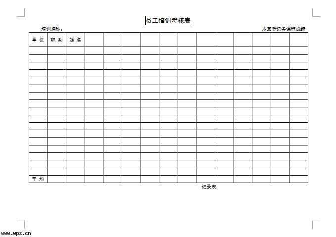 员工培训考核表模板免费下载