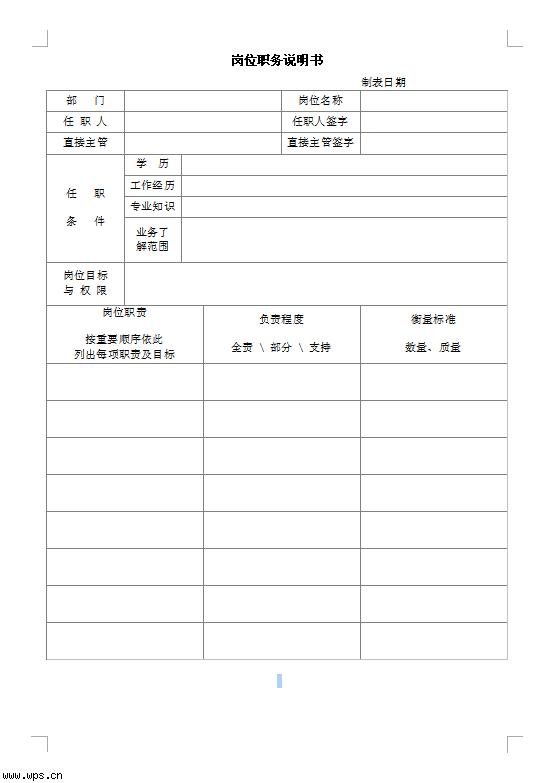 岗位职务 说明 书模板免费下载-职务规范 财务经理职务说明书