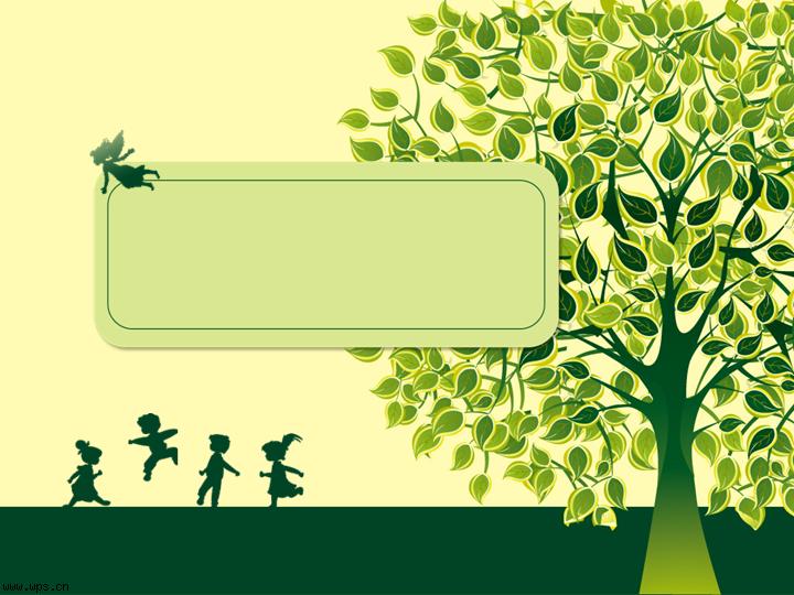 绿色与孩子ppt背景模板免费下载