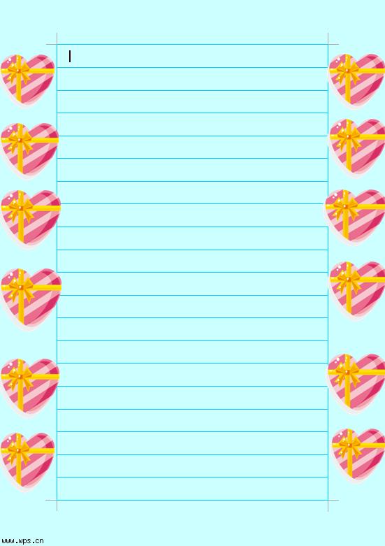 心形清爽信纸模板免费下载_23576- wps在线模板图片