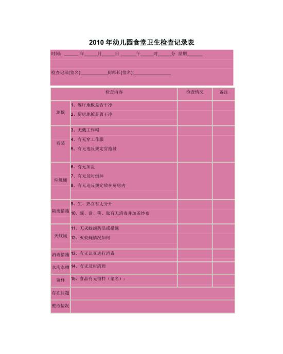 2010年幼儿园食堂卫生检查记录表模板免费下载