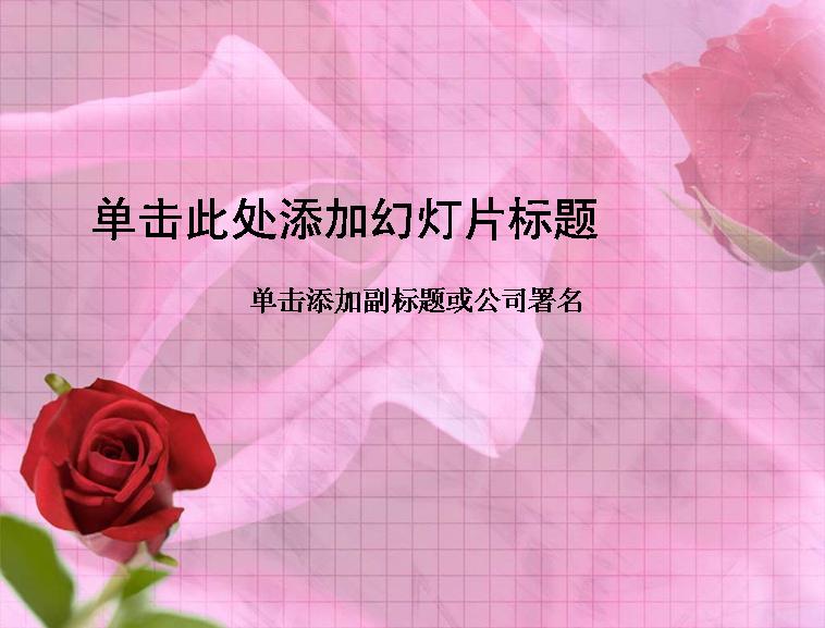 粉红背景的玫瑰花ppt_模板免费下载_64260- wps在线