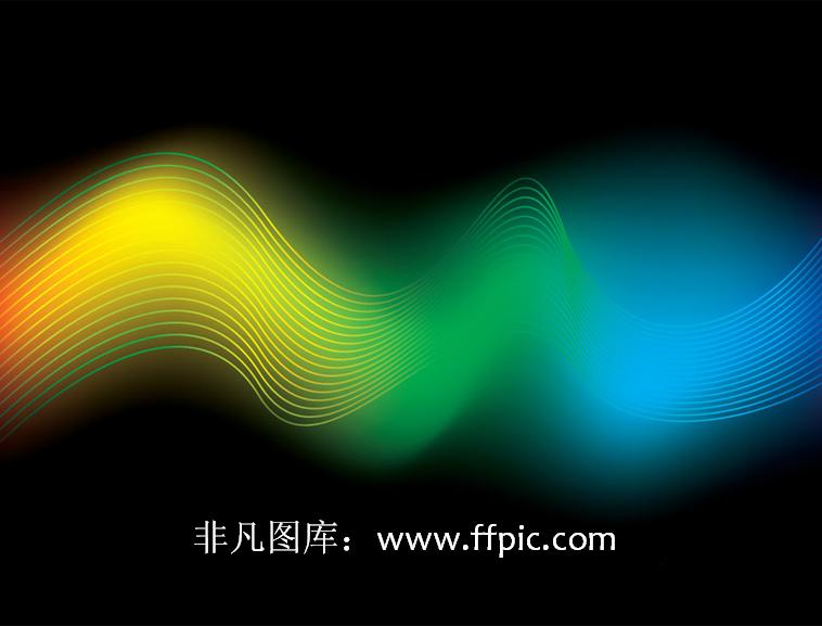 彩色光线条ppt背景图片模板