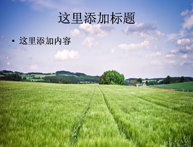 天空云绿色草地树风景ppt模板免费下载_91704- wps