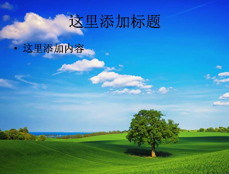 蓝天白云树幻灯片背景图片|ppt 宽1024x768高; 蓝天白云树幻灯片背景